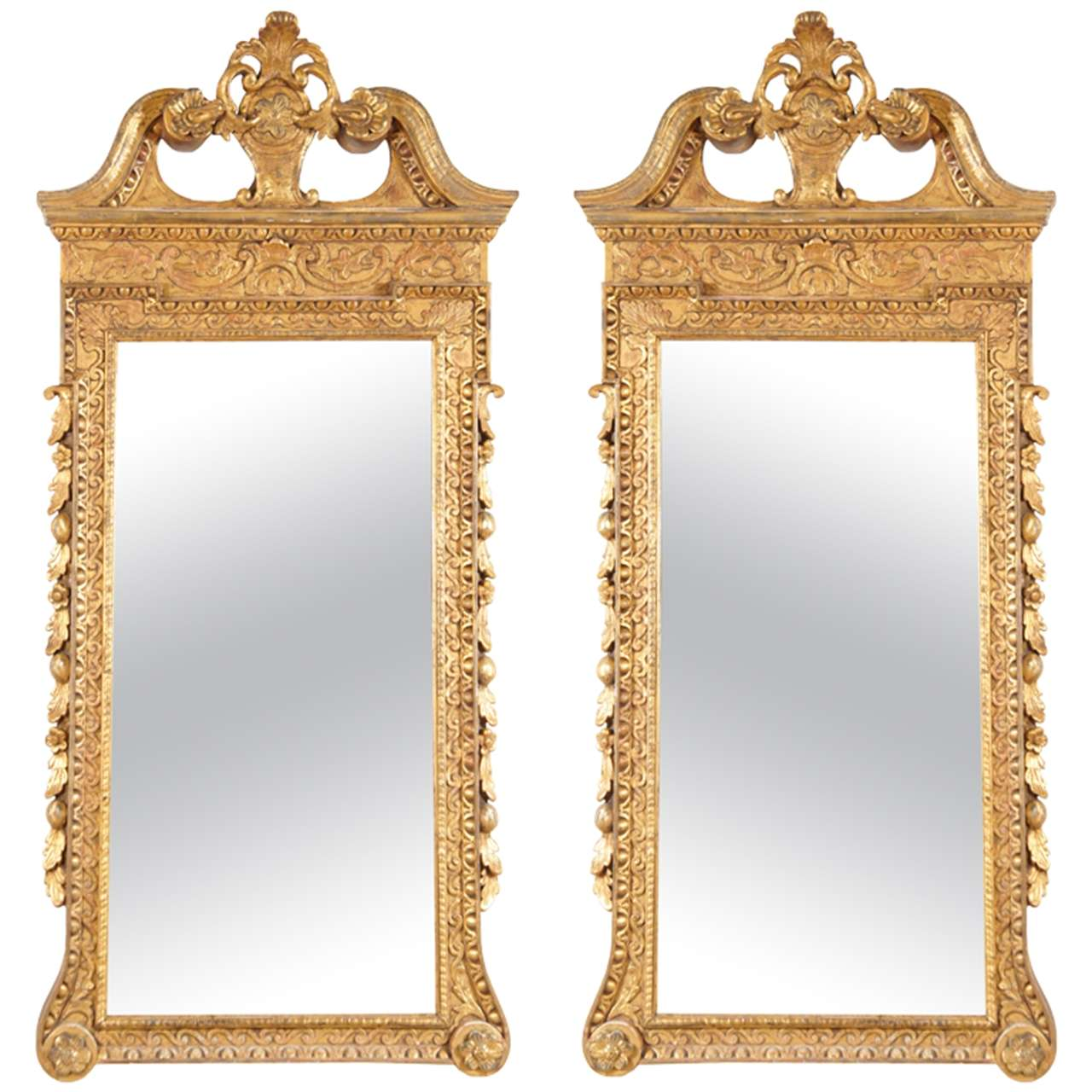 Pair of george ii giltwood mirrors at 1stdibs for Church style mirrors