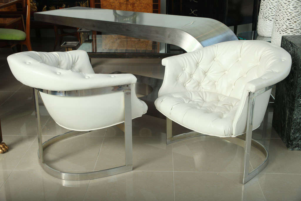 American Pair Milo Baughman Chrome And Tufted White Leather Tub Chairs For