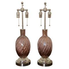 Pair Of Amethyst Murano Lamps