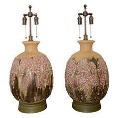 Fabulous Large Pair Of Volcanic Ceramic Lamps