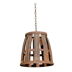 Rustic Inverted French Wine Basket Made into a Vineyard Inspired Chandelier