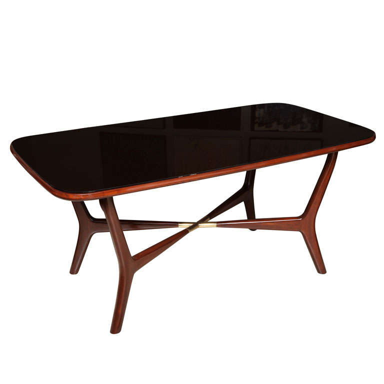 An Italian Modern Mahogany Brass And Black Glass Dining Table At 1stdibs