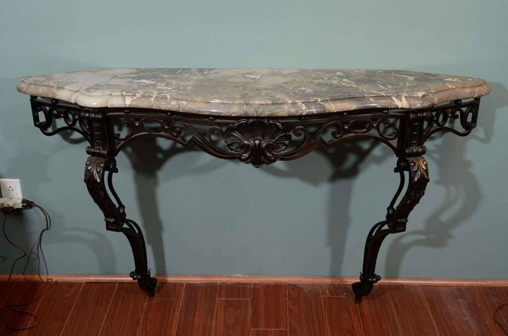 an art nouveau bronze and marble console table at 1stdibs. Black Bedroom Furniture Sets. Home Design Ideas