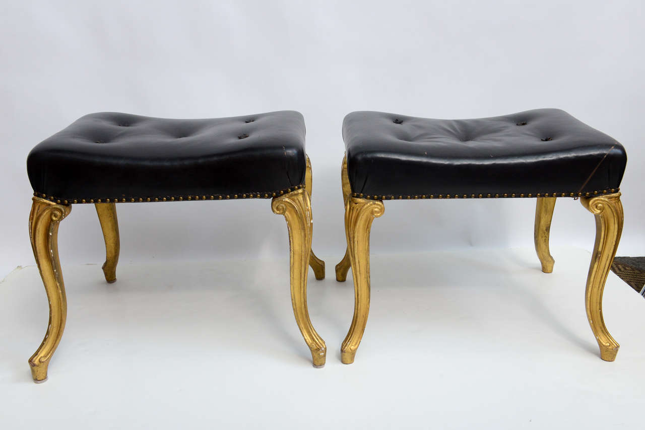 Excellent Vintage Hollywood Regency Glam French Black Leather Tufted Ottomans Bralicious Painted Fabric Chair Ideas Braliciousco