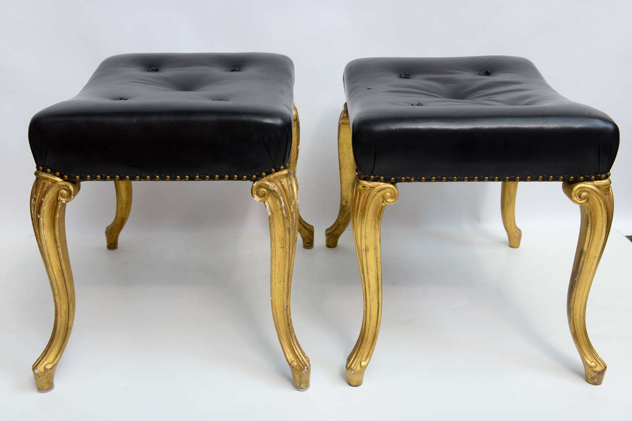 Vintage Hollywood Regency Glam French Black Leather Tufted Ottomans For Sale At 1stdibs