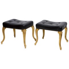 Vintage Hollywood Regency Glam French Black Leather Tufted Ottomans