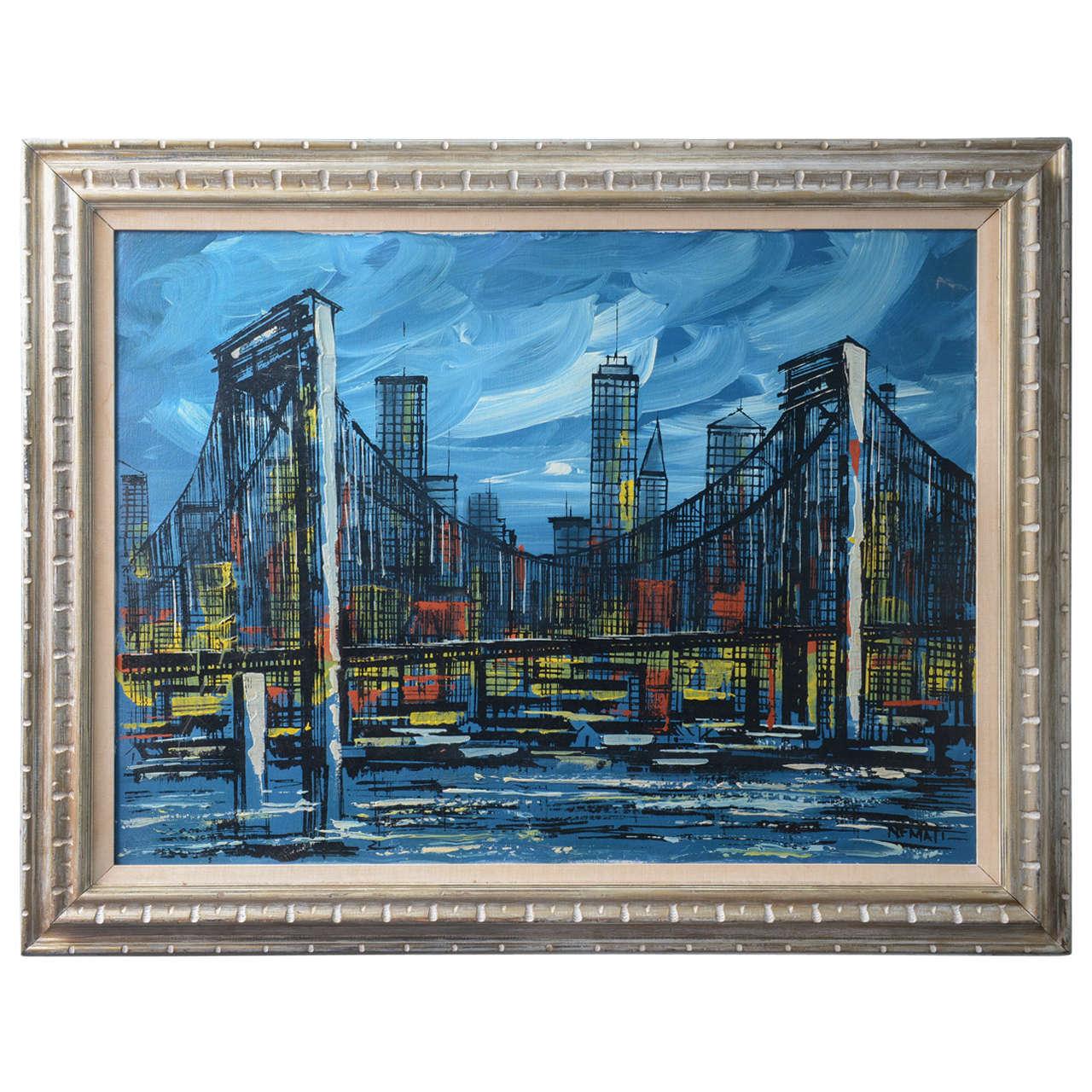 1960s Manhattan Bridge Oil Painting