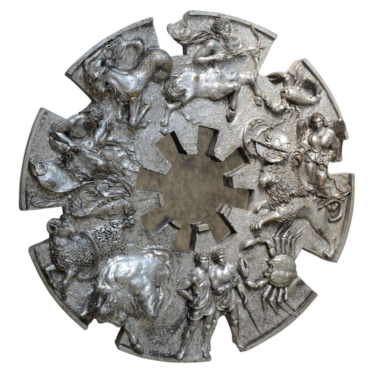 1970s Brutalist Zodiac Metallic Finish Mirror