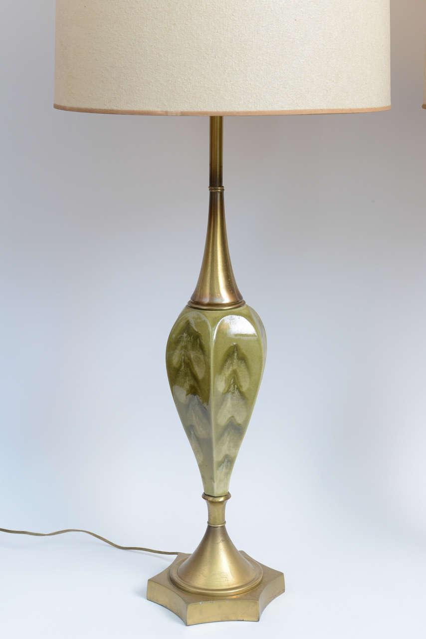 Hollywood Regency Green Pottery and Brass Table Lamps by Rembrandt Cie For Sale