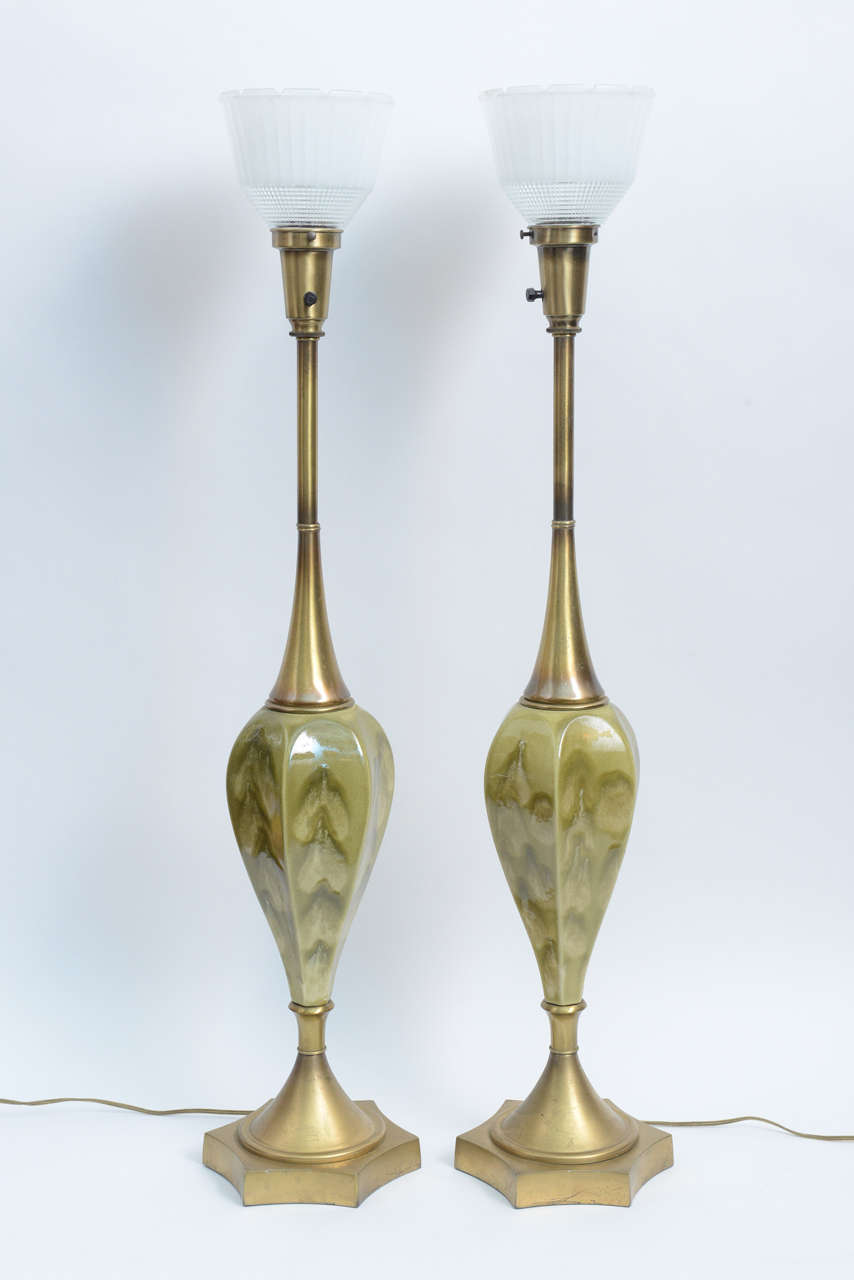 Green Pottery and Brass Table Lamps by Rembrandt Cie In Excellent Condition For Sale In Miami, FL