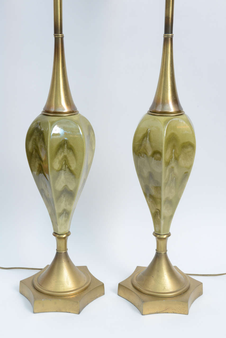 Green Pottery and Brass Table Lamps by Rembrandt Cie For Sale 1