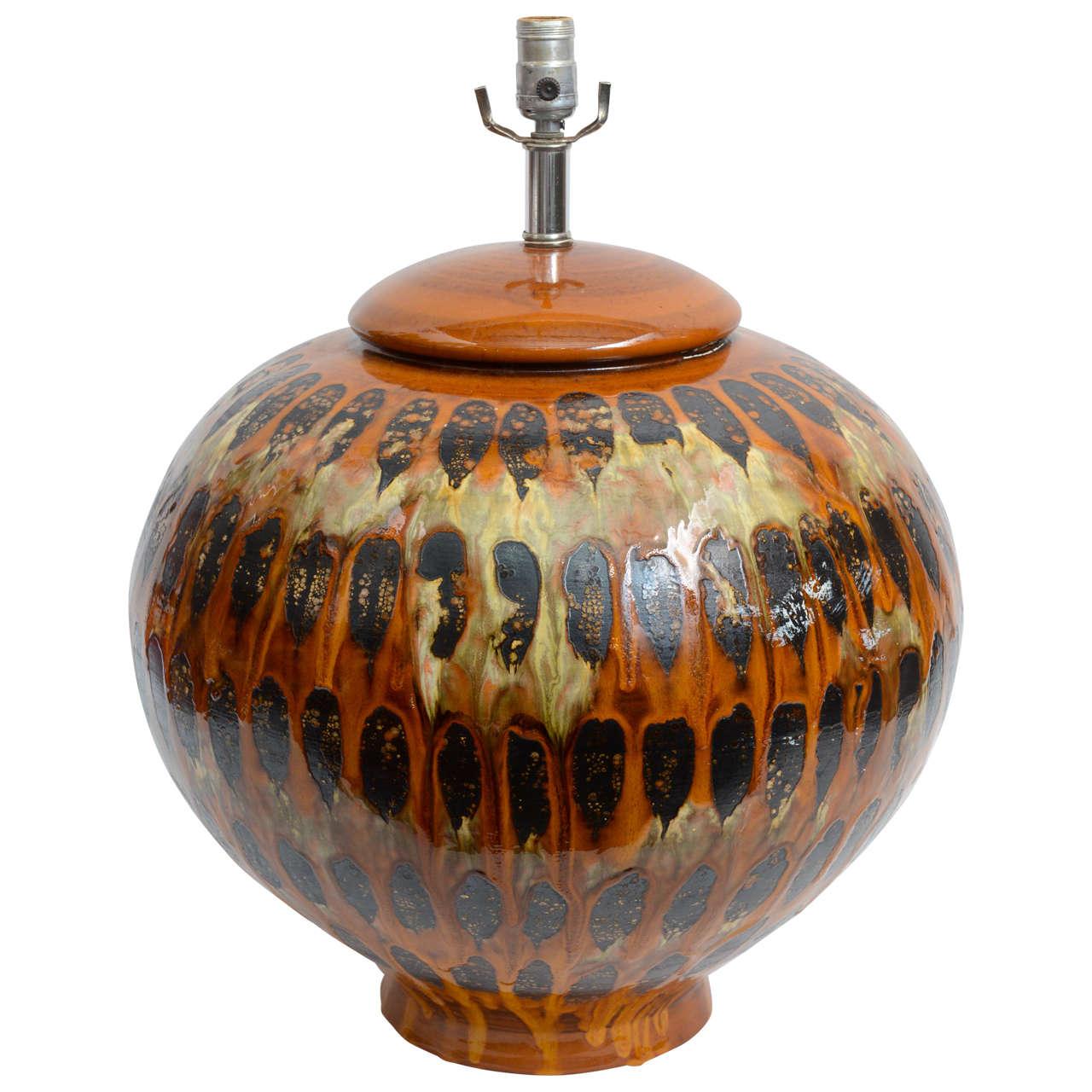 Huge Mid-Century Drip Glaze Pottery Table Lamp