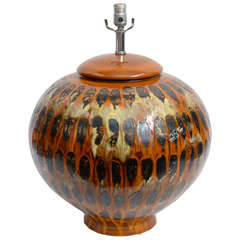 Huge Mid-Century Drip Glaze Pottery Table Lamp