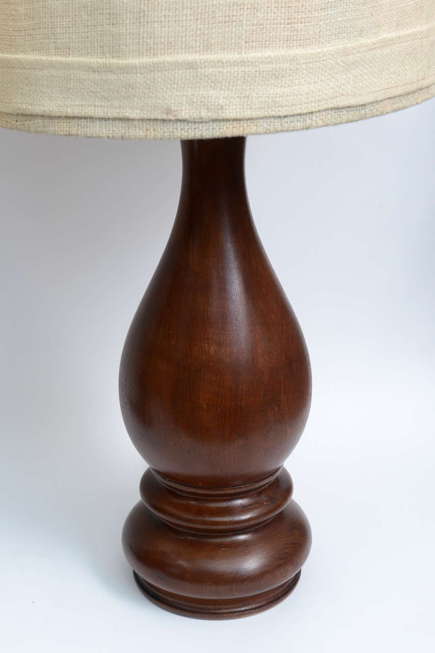 Mid Century Pair Of Dark Hand Turned Wood Table Lamps For Sale At 1stdibs