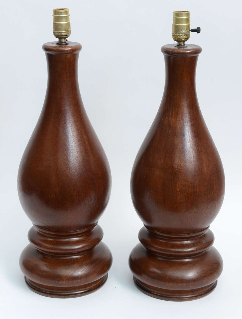 Mid Century Pair Of Dark Hand Turned Wood Table Lamps For