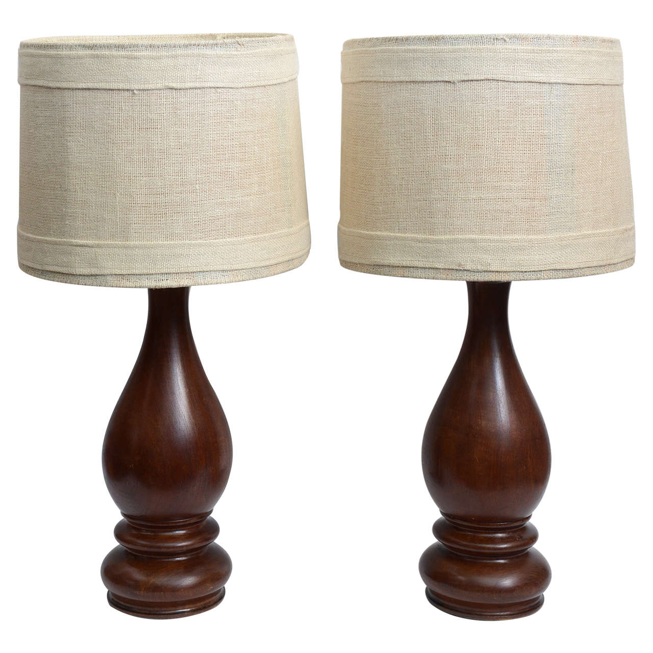 Mid-Century Pair of Dark Hand-Turned Wood Table Lamps For Sale