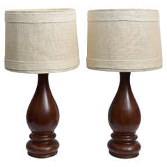 Mid-Century Pair of Dark Hand-Turned Wood Table Lamps