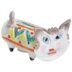 1960s Italian Art Pottery Cat Piggy Bank, Aldo Londi Bitossi Era