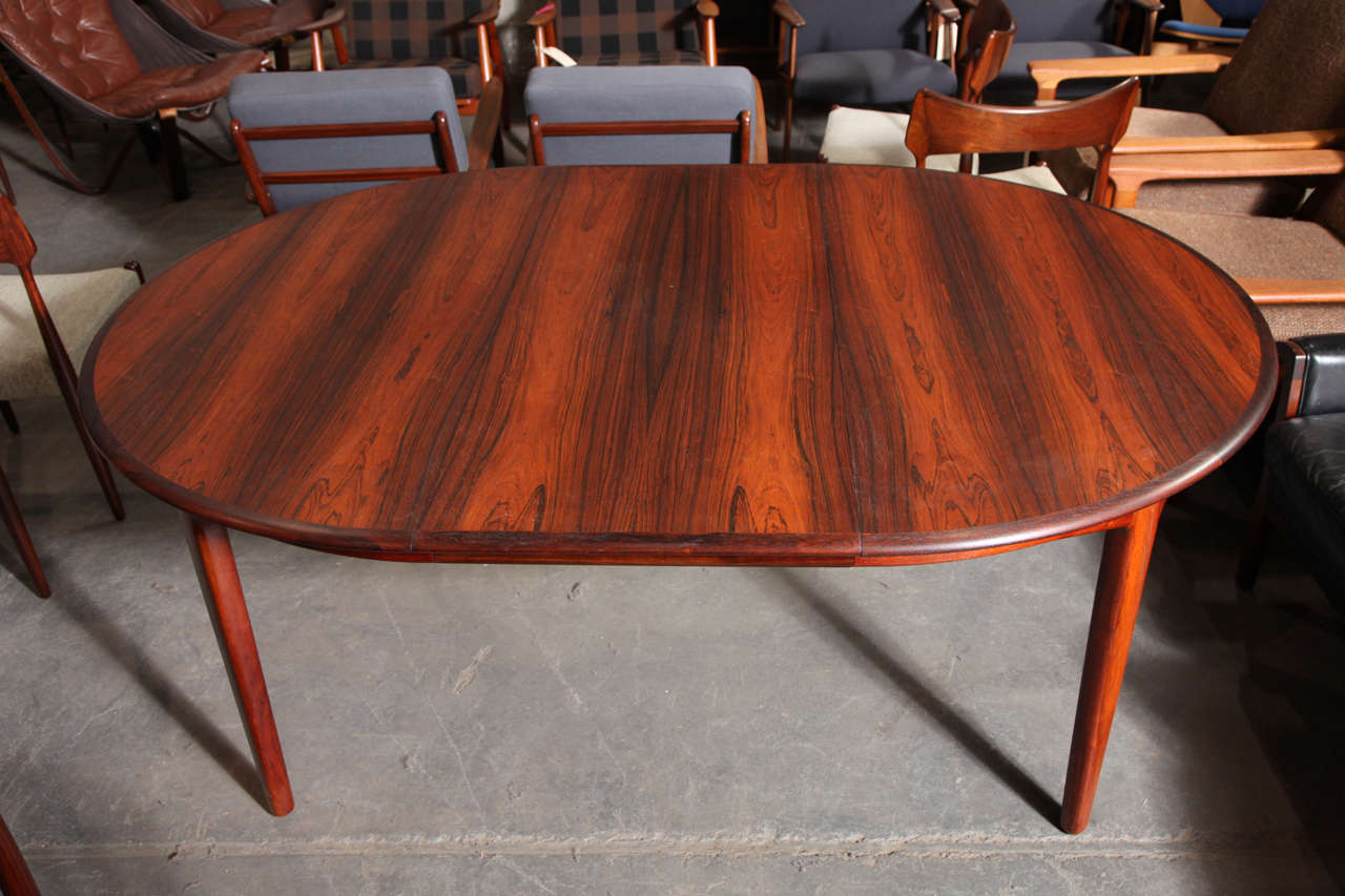 Round Dining Table By Henning Kjaernulf With Four Leaves At 1stdibs