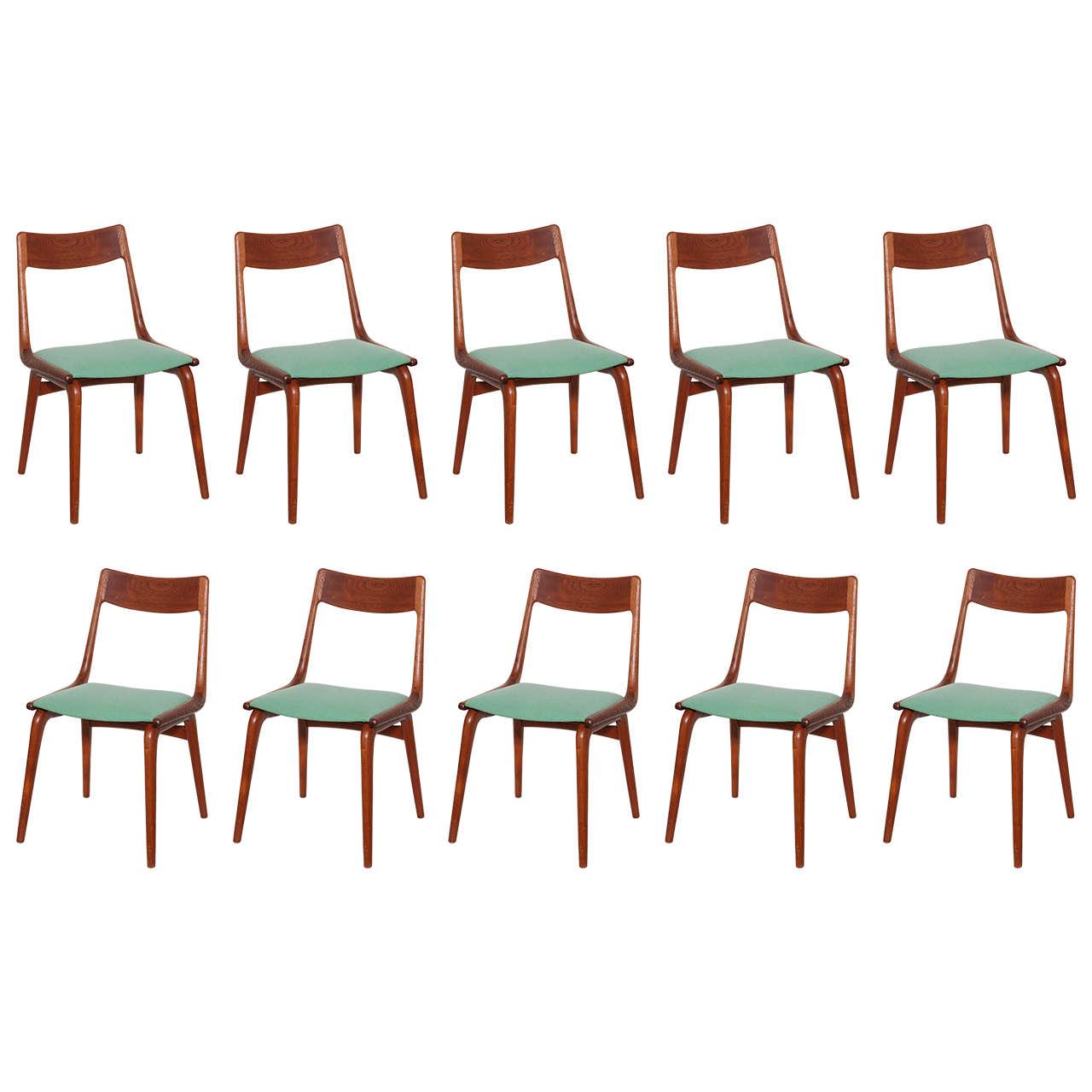 Boomerang Chairs by Erik Christiansen Set of 10 at 1stdibs