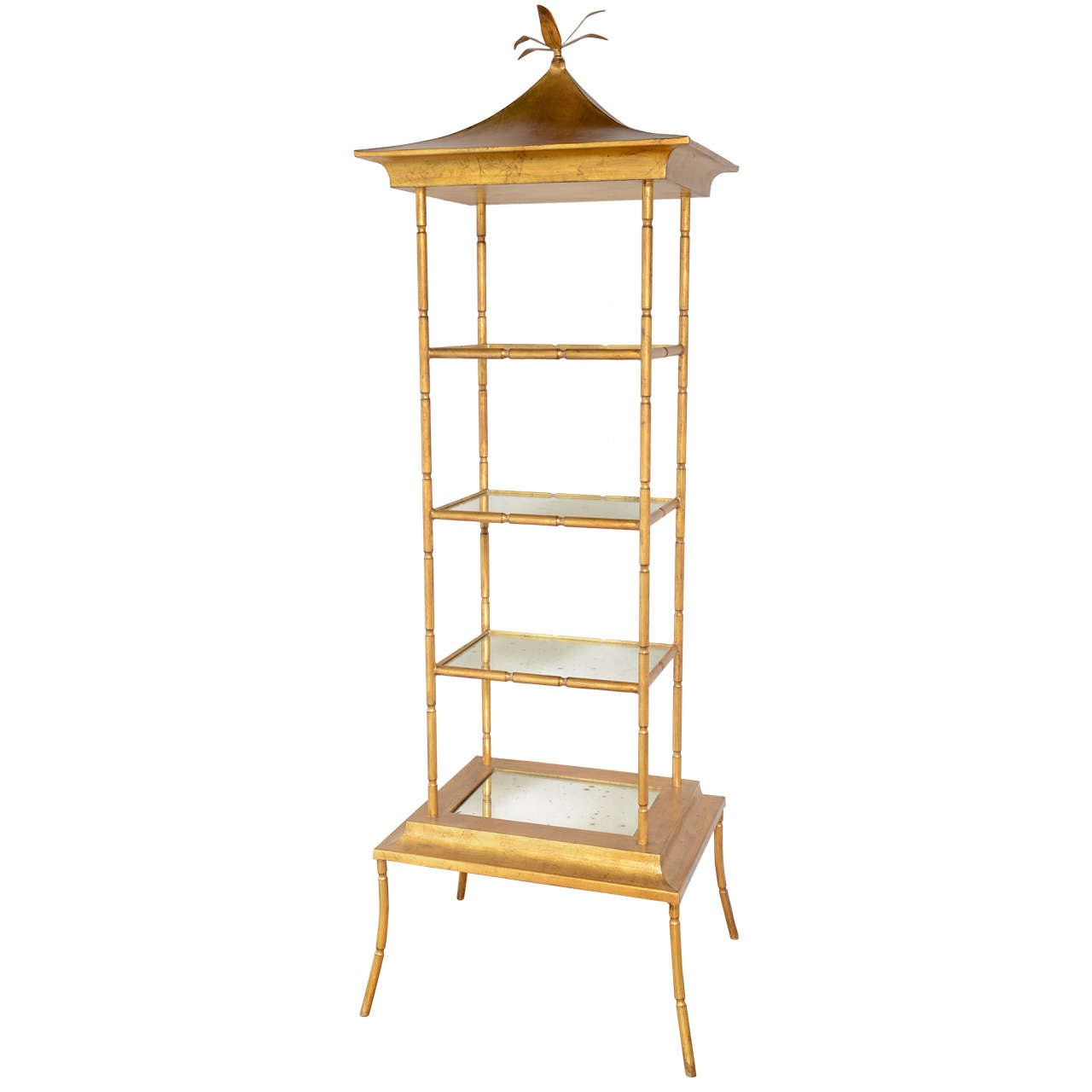 gilded metal pagoda style etagere at 1stdibs. Black Bedroom Furniture Sets. Home Design Ideas