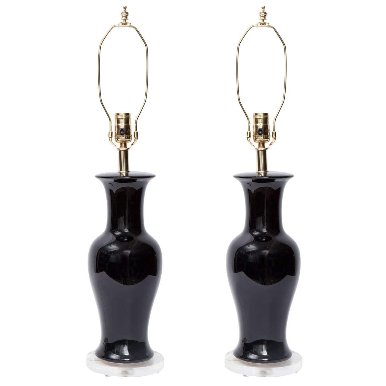 Pair of Black Urn Ceramic Lamps