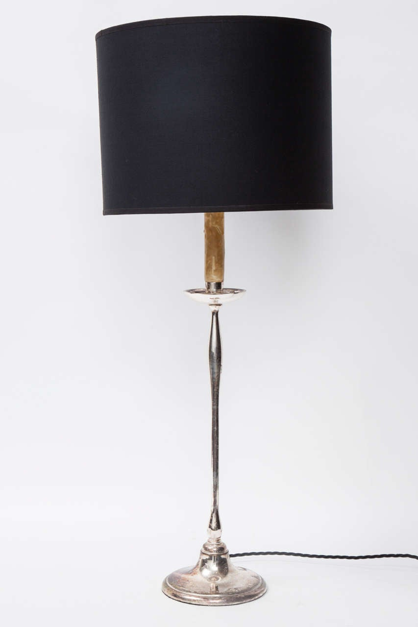 Pair Of Tall Silver Plate Lamps At 1stdibs
