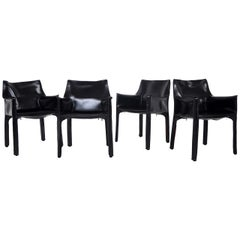 Mario Bellini Set of Four Black Leather CAB Chairs