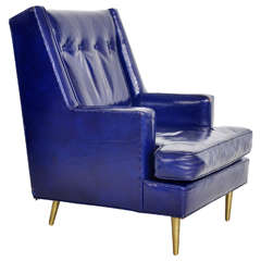 Dunbar Leather Lounge Chair on Brass Legs by Edward Wormley