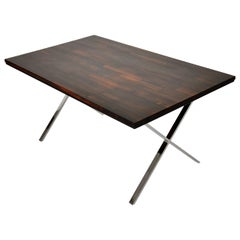 Milo Baughman Rosewood X-Base Desk or Dining Table