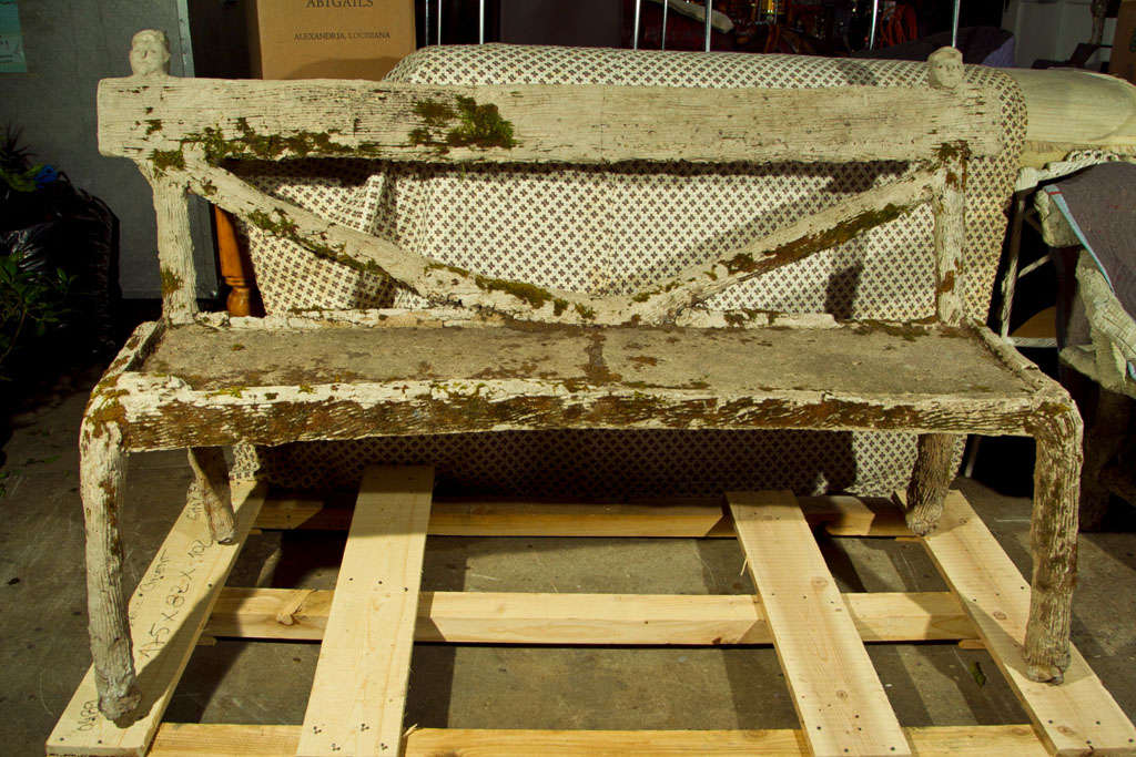Whimsical French Faux Bois Garden Bench For Sale 1
