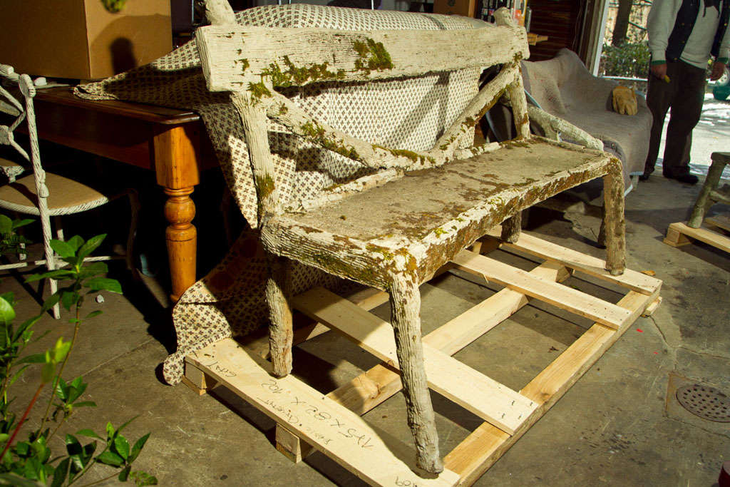 Whimsical French Faux Bois Garden Bench For Sale 2
