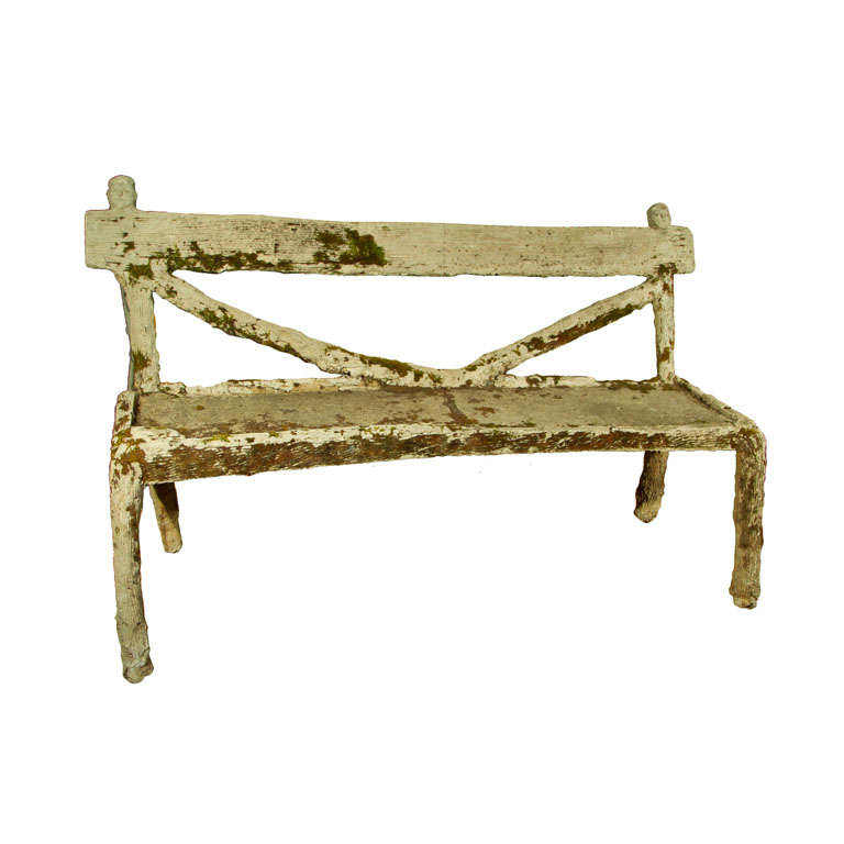 Whimsical French Faux Bois Garden Bench For Sale