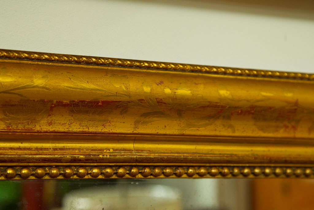 Wood Large Giltwood Louis Philippe Style Wall Mirror with Foliage Detail For Sale