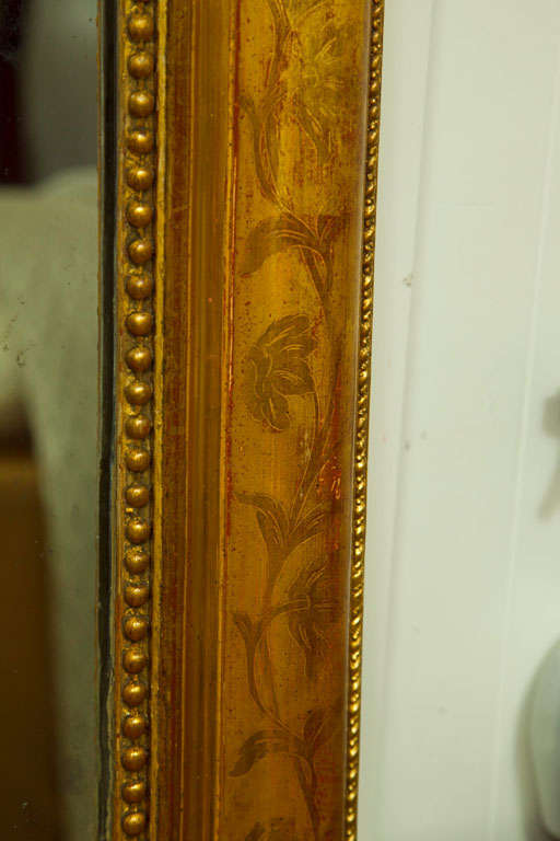 Large Giltwood Louis Philippe Style Wall Mirror with Foliage Detail For Sale 1