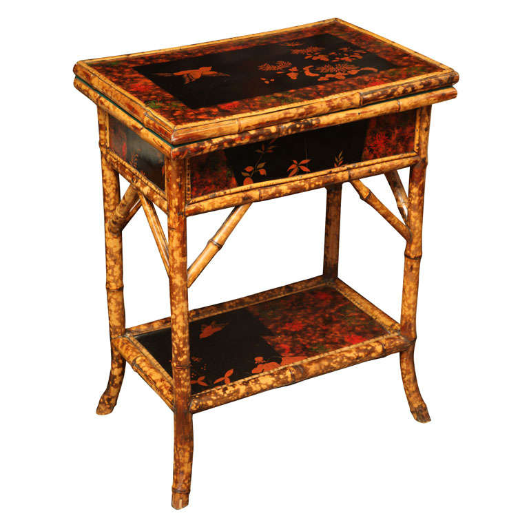 19th century english flip top bamboo card table at 1stdibs for Table th rotate