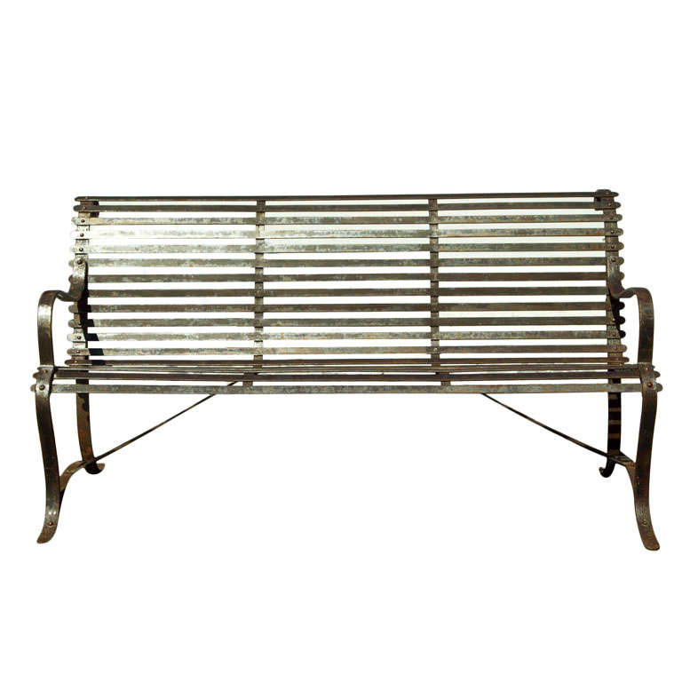Wrought Iron Slat Garden Bench 1