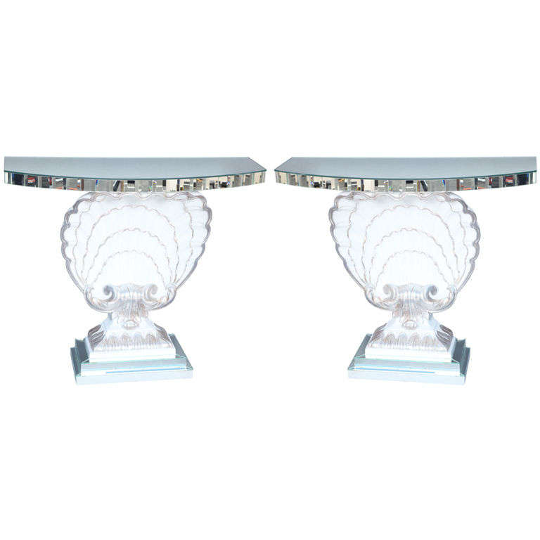 Pair Scallop Shell Console Tables By Grosfeld House At 1stdibs