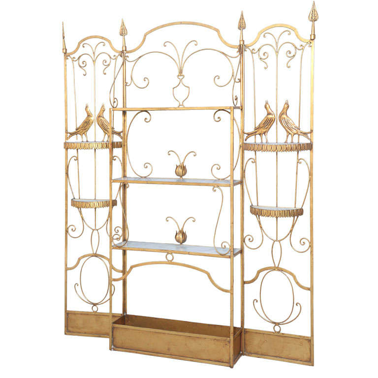 gilded iron palladio etagere for sale at 1stdibs. Black Bedroom Furniture Sets. Home Design Ideas