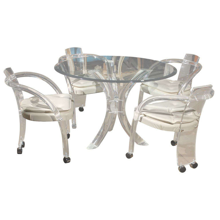 Mid C Lucite Dining Table Set At 1stdibs