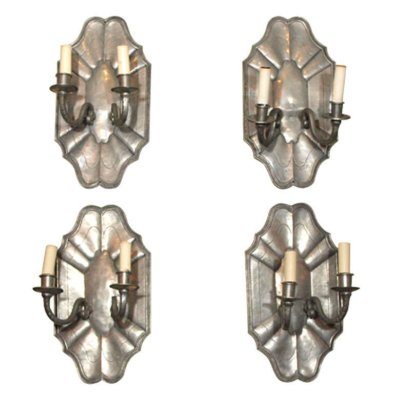 Set of four antique French pewter two-light wall sconces. at 1stdibs