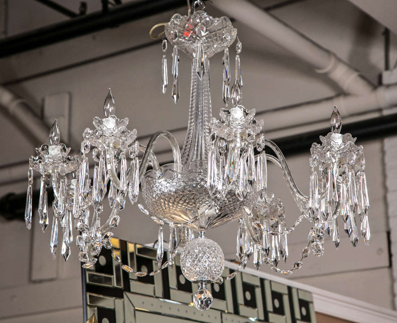 A spectacular Waterford crystal chandelier. This full crystal chandelier  having a heavy cut overall structure - Waterford Crystal Chandelier For Sale At 1stdibs