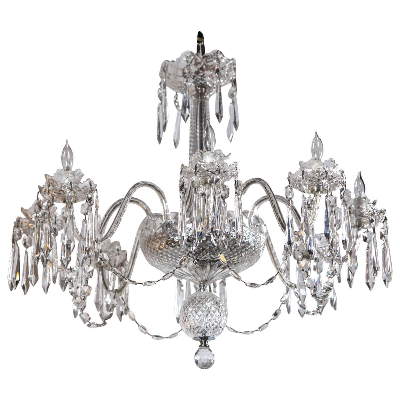 Waterford six light crystal chandelier circa 1970 for sale at 1stdibs waterford crystal chandelier arubaitofo Gallery