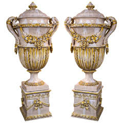 Pair of 19th Century Monumental Majolica Lidded Urns