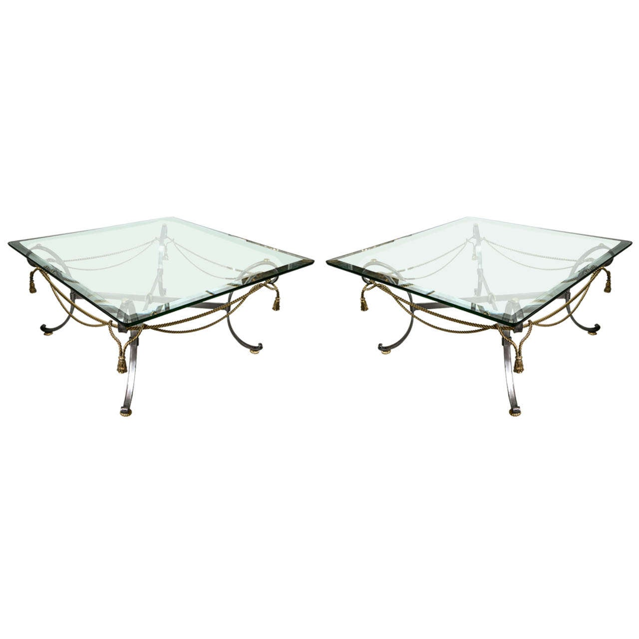 Pair of Fine Tassel and Ribbon Form Brass And Steel Coffee Low Tables