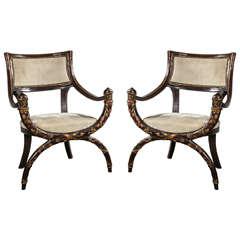 Pair of Italian Curule Armchairs