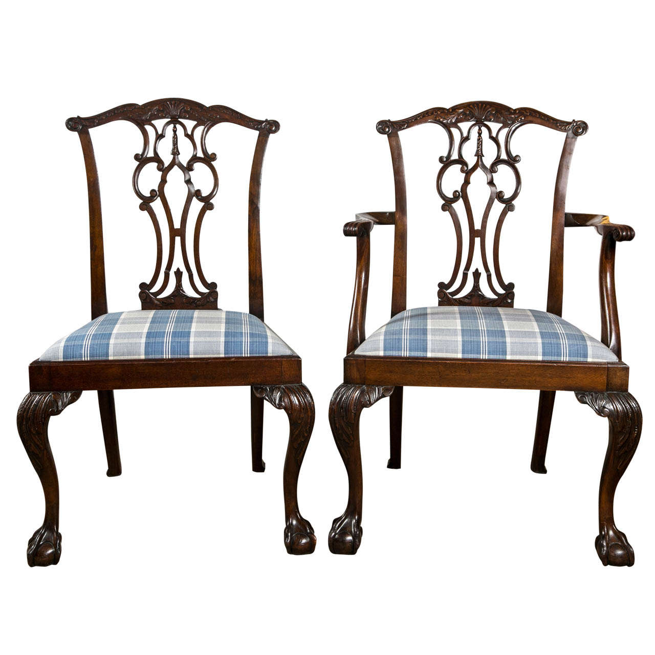 Set of eight chippendale dining chairs with ball and claw for 8 dining room chairs