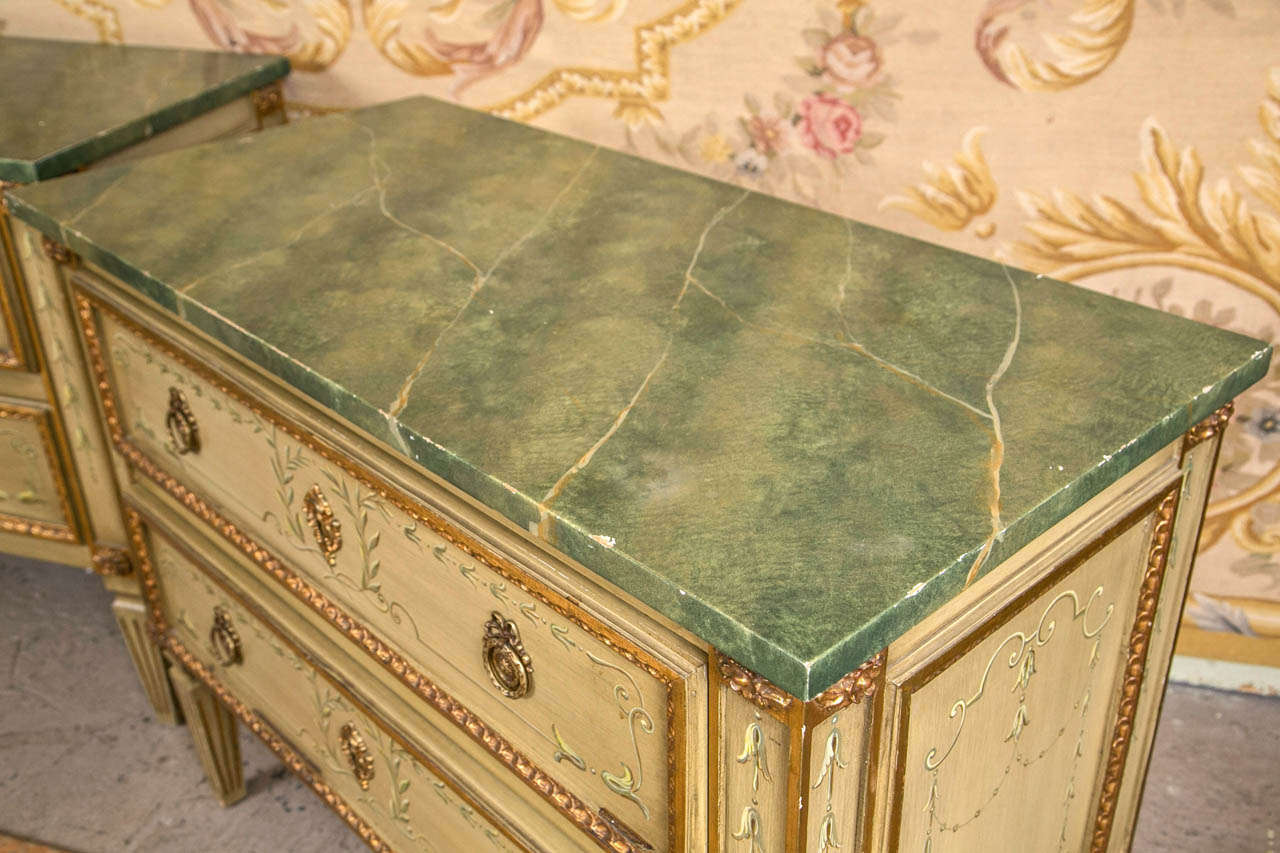 Fine Pair Of Julia Gray Painted Italian Chests At 1stdibs