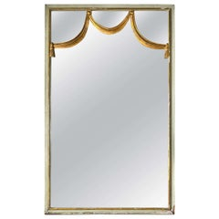 Dorothy Draper Mid-Century Wall Console Mirror Paint Decorated Gilt Gold Wood