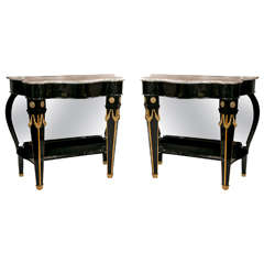 Pair of Maison Jansen Mirrored Back Consoles